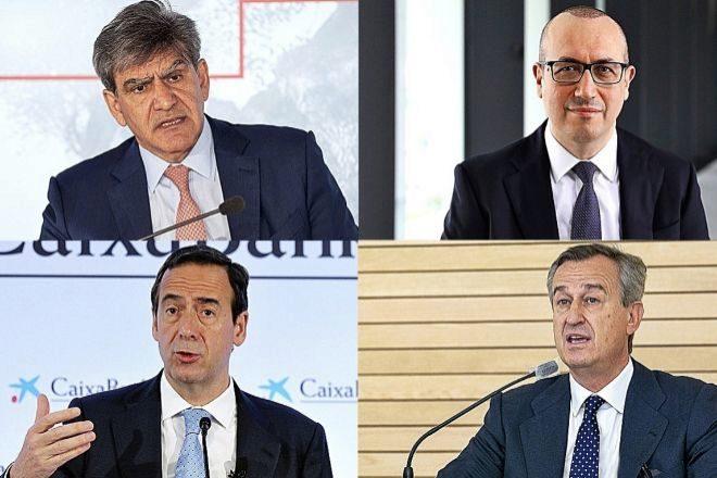 Jose Antonio Álvarez (Santander), Onur Genç (BBVA), Gonzalo Gortázar (CaixaBank) y César González Bueno (Sabadell) ,  en las presentaciones de los resultados del primer trimestre de 2021.