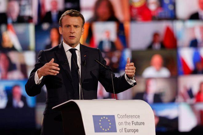 El presidente francés, Emmanuel Macron, durante su intervención ayer en la Conferencia sobre el Futuro de Europa en Estrasburgo (Francia).