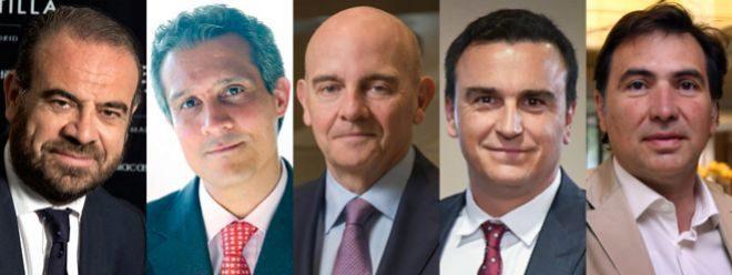 De izquierda a derecha Gabriel Escarrer, vicepresidente y CEO de Meliá; Raúl González, CEO de Barceló Hotels en EMEA;  Ramón Aragonés, CEO de NH Hotel Group; Abel Matutes Prats, presidente de Palladium; y Jordi Ferrer, CEO de Grupo Inversor Hesperia.