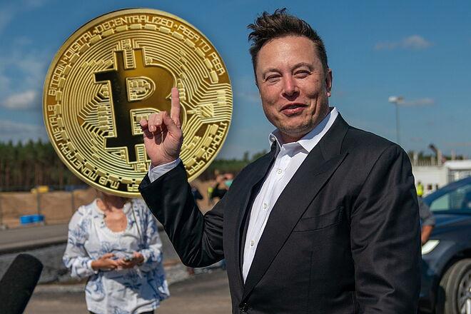 Fotomontaje con Elon Musk y la recreación de un bitcoin