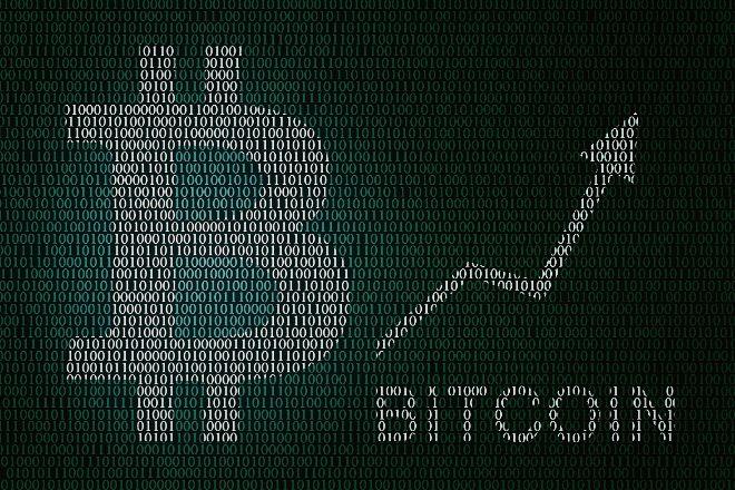 Símbolo del bitcoin con códigos binarios
