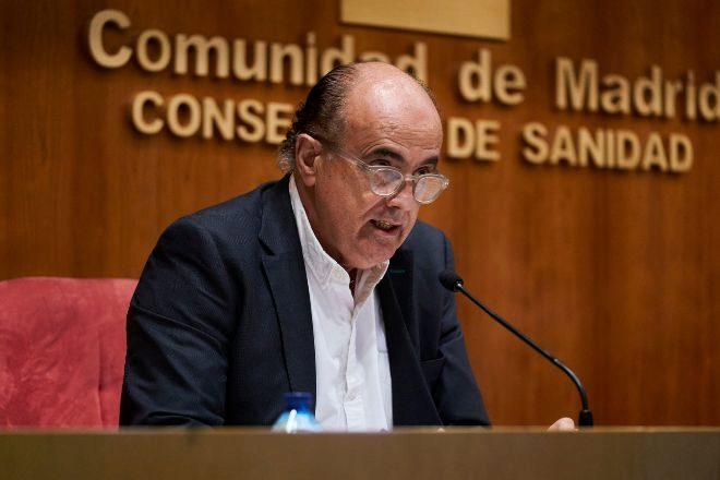 El viceconsejero de Salud Pública y Plan Covid-19 de la Comunidad de Madrid, Antonio Zapatero, hoy en la rueda de prensa.