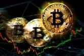 Monedas de bitcoins sobre gráficos bursátiles