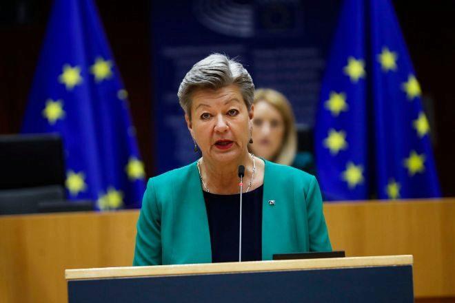 La Comisaria de Interior comunitaria, Ylva Johansson, este martes en el Parlamento Europeo.