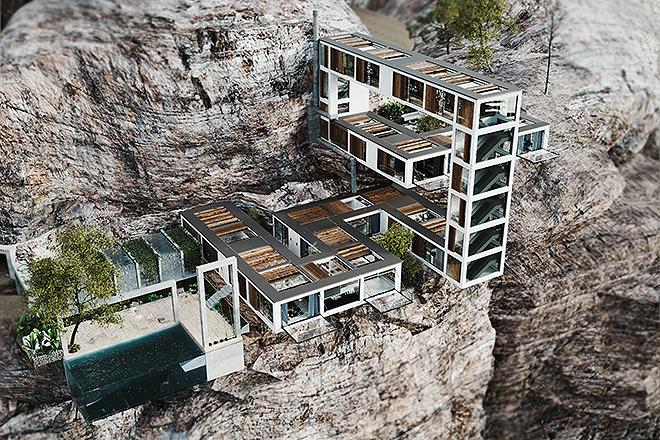 Otra vista de la Mountain House proyectada por Milad Eshtiyaghi.