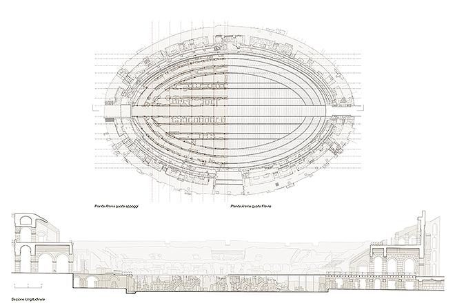 Plano y sección del proyecto firmado por Milan Ingegneria, Fabio Fumagalli y Labics.