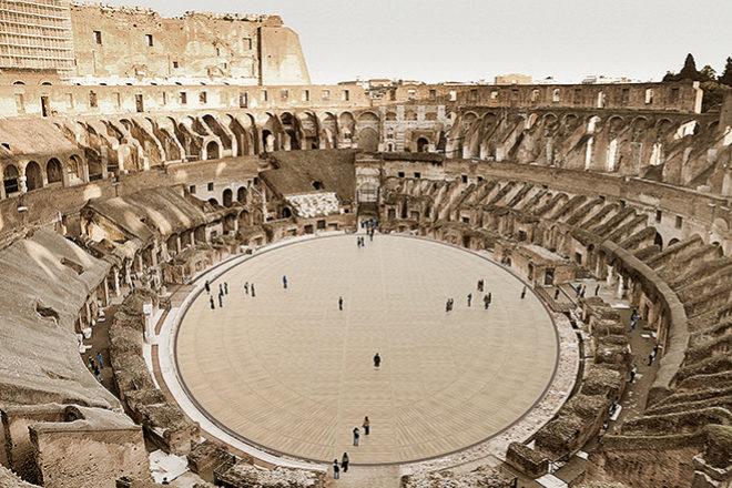 Así quedaría el Coliseo con el nuevo suelo instalado a la misma altura que el original.