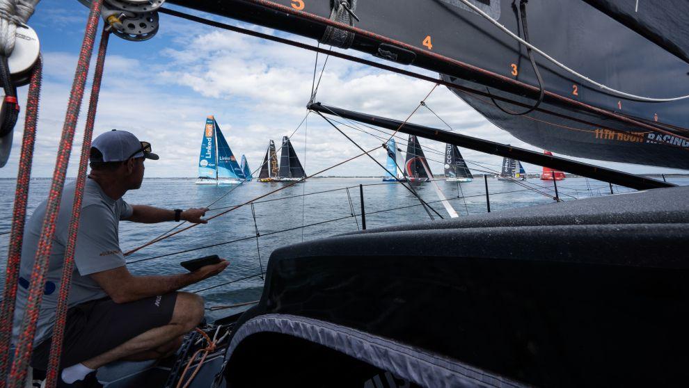 Los IMOCA y VO65 de The Ocean Race Europe, este viernes en Lorient. |...