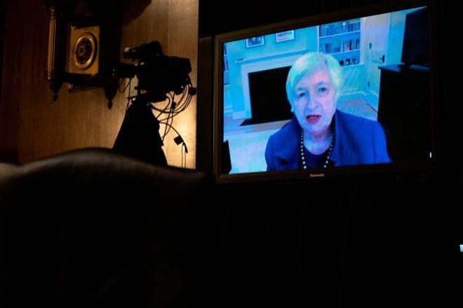 La presidenta de la Reserva Federal de EEUU, Janet Yellen, durante una videoconferencia.
