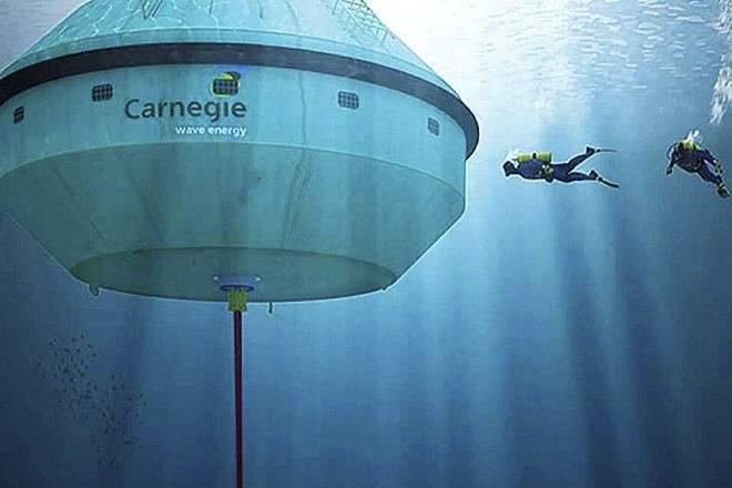 La compañía australiana Carnegie Wave Energy ha dado un paso más y está obteniendo energía de las corrientes marítimas con estas boyas gigantes ancladas debajo del mar.