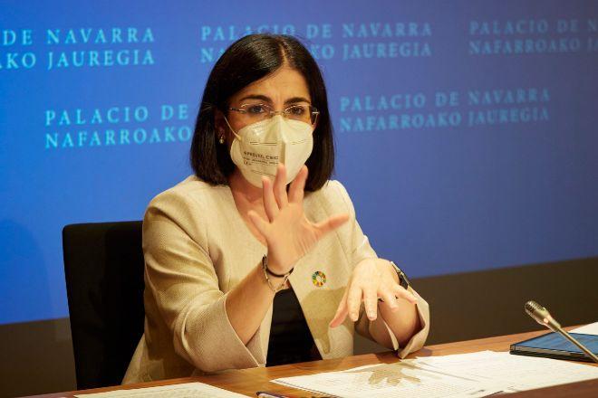 Carolina Darias, ministra de Sanidad, durante la rueda de prensa tras presidir desde Pamplona el pleno telemático del Consejo Interterritorial del Sistema Nacional de Salud, celebrado el pasado 2 de junio.