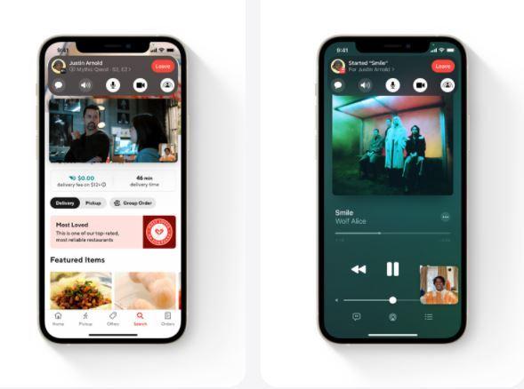 Ejemplo de compartir música y vídeos en FaceTime gracias a SharePlay.