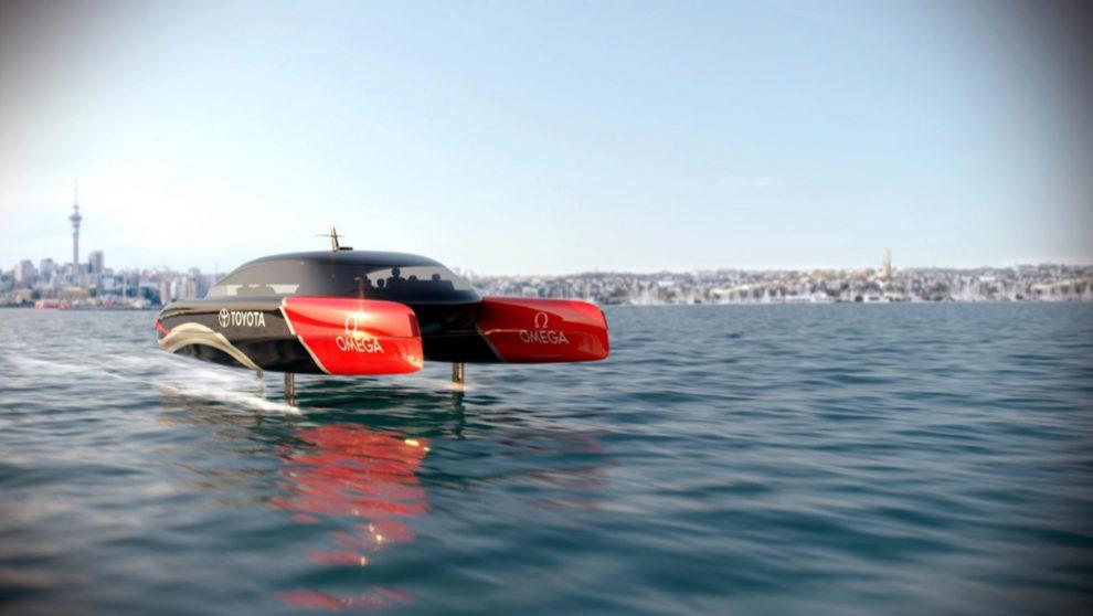 Prototipo de un barco de apoyo del Team New Zealand.