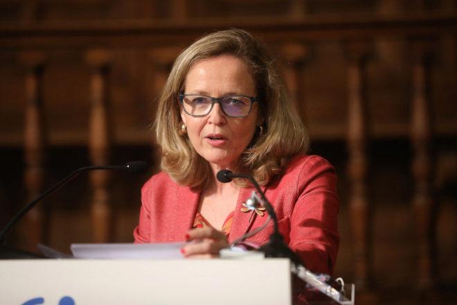 La vicepresidenta segunda del Gobierno y ministra de Asuntos Económicos y Transformación Digital, Nadia Calviño, durante su discurso de clausura del II FORO ECONÓMICO INTERNACIONAL EXPANSIÓN.