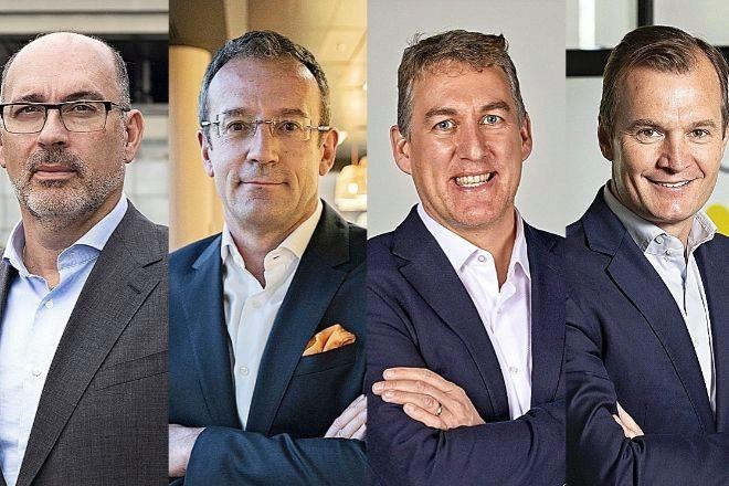 De izquierda a derecha, Emilio Gayo, presidente de Telefónica España; Jean François Fallacher, CEO de Orange España; Colman Deegan, CEOde Vodafone España; y Meinrad Spenger, consejero delegado de MásMóvil.