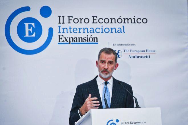 El Rey Felipe VI durante el discurso de inauguración del II Foro Económico Internacional Expansión.