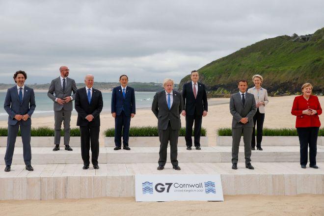 Foto de familia de los líderes del G7 durante la cumbre del pasado fin de semana en Cornualles (Reino Unido).