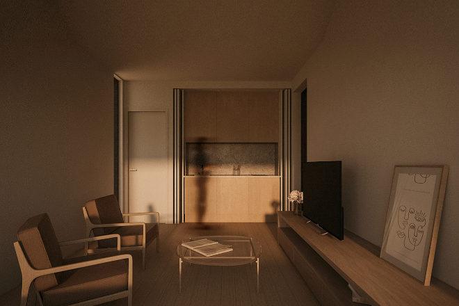Propuesta de interior de Liten que puede ser cabaña, anexo a vivienda o estudio.