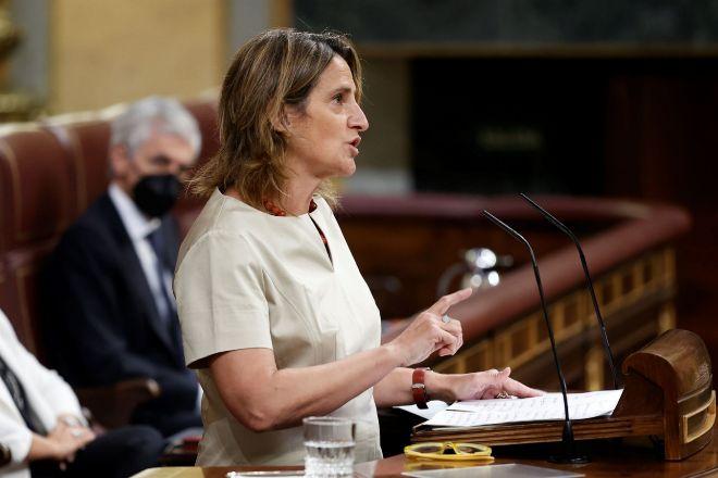 La vicepresidenta cuarta para la Transición Ecológica y el Reto Demográfico, Teresa Ribera, ayer en el Congreso.