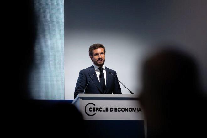 El presidente del PP, Pablo Casado, inaugurando la segunda jornada de la reunión anual del Círculo de Economía.
