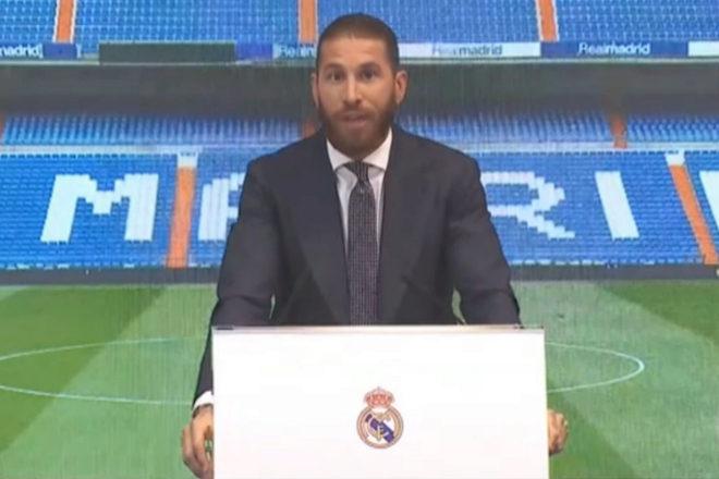 Sergio Ramos en su despedida del Real Madrid.