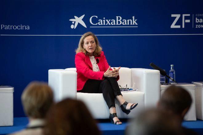 La vicepresidenta segunda del Gobierno y ministra de Asuntos Económicos, Nadia Calviño, en la reunión anual del Círculo de Economía.