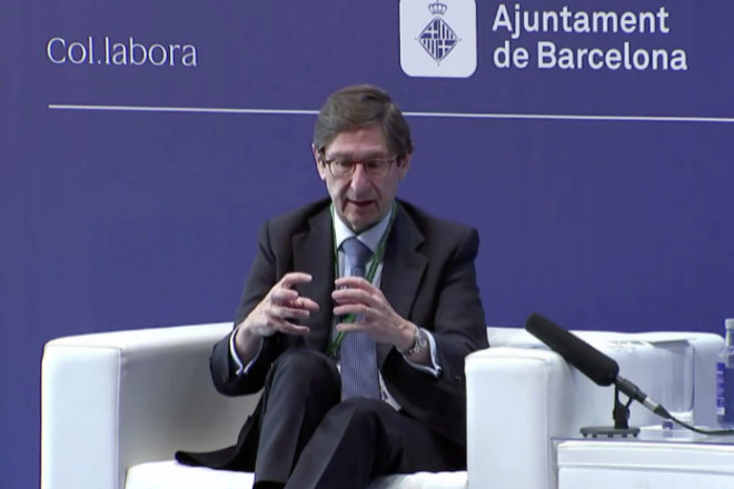 El presidente de CaixaBank, José Ignacio Goirigolzarri, en su intervención en el Círculo de Economía de Barcelona.