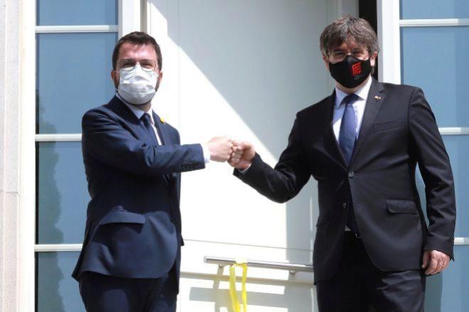 El 'president' Pere Aragonès (ERC), que este viernes se entrevistó con su predecesor, Carles Puigdemont (Junts).