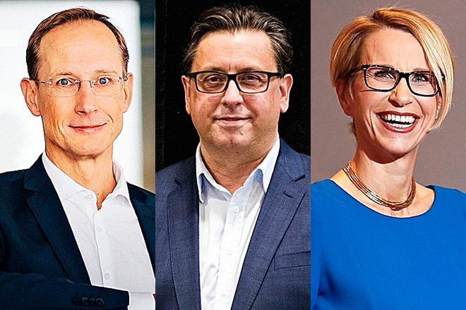 Franz-Werner Haas, consejero delegado de CureVac, Paul Hudson, consejero delegado de Sanofi, y Emma Walmsley, consejera delegada de GSK.