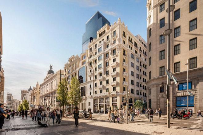 La nueva fachada de Teatro Fontalba tras la reforma integral del estudio Rafael Robledo Arquitectos.