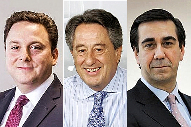 Bernardo Kanahuati, CEO de Bayer; Javier Targhetta, CEO de Atlantic Copper, y Bernardo Velázquez, CEO de Acerinox.