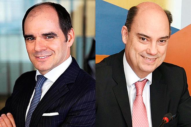 António Simões, consejero delegado de Santander España, y José Manuel Inchausti, consejero delegado de Mapfre España.
