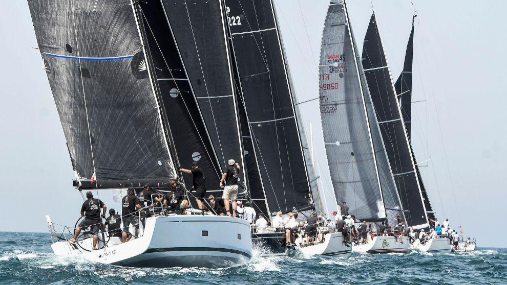 Parte de la flota de una de las clases del último Trofeo de la Reina...