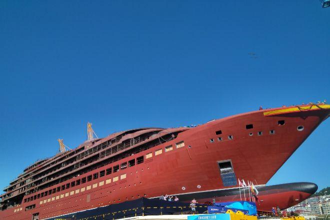 Botadura del buque 'Evrima' para The Ritz-Carlton en el astillero Barreras en octubre de 2018.