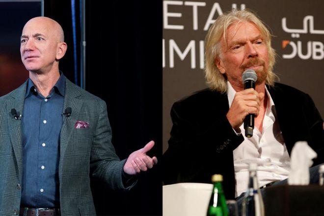 El fundador de Amazon, Jeff Bezos,  y el multimillonario británico Richard Branson.