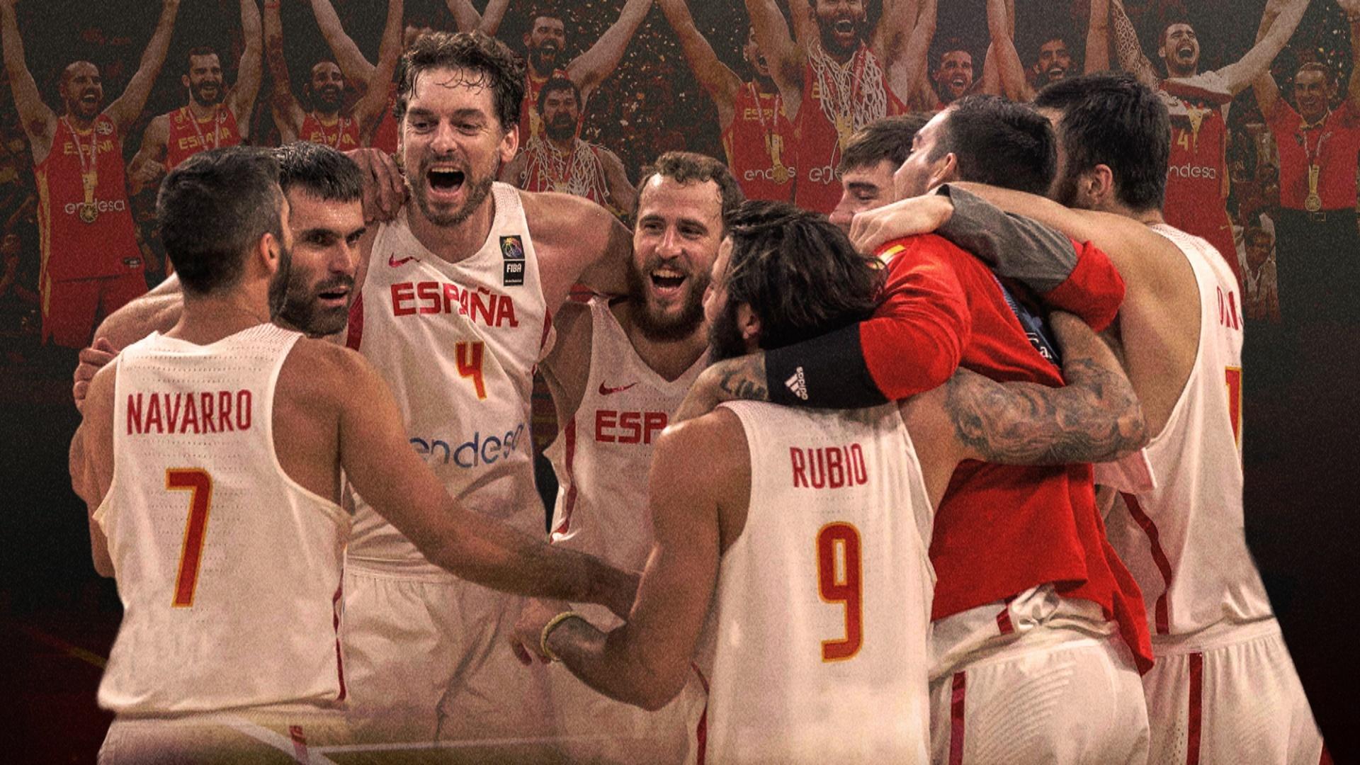 La selección española de baloncesto celebrando uno de sus múltiples triunfos.