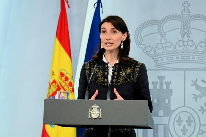 La nueva ministra de Justicia, Pilar Llop, durante su comparecencia sin preguntas de ayer tras la sentencia del Tribunal Constitucional de declarar ilegal el confinamiento del primer estado de alarma.
