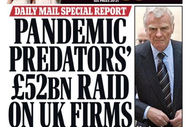 Portada del 'Daily Mail' criticando las opas del capital riesgo sobre empresas británicas.