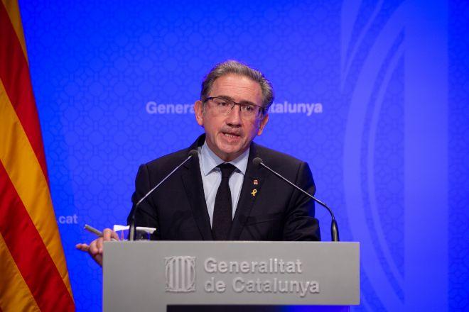 El conseller de Economía y Hacienda, Jaume Giró, en la rueda de prensa posterior al Consell Executiu.