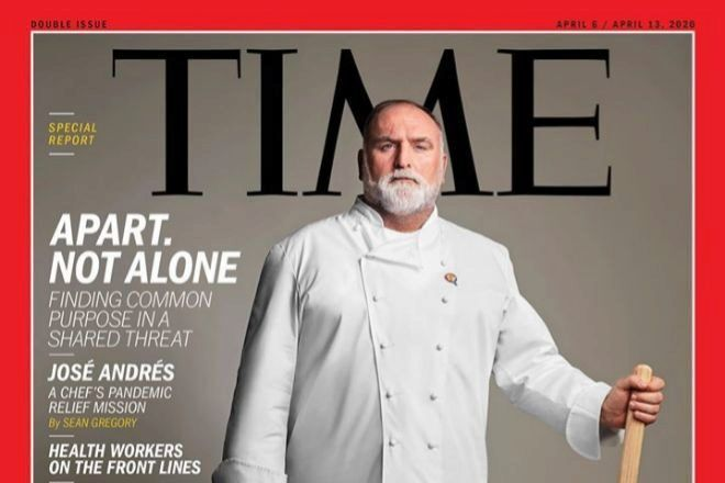 José Andrés, fundador de ThinkFoofGroup y de la ONG World Central Kitchen, en la portada de Time en marzo de 2020.