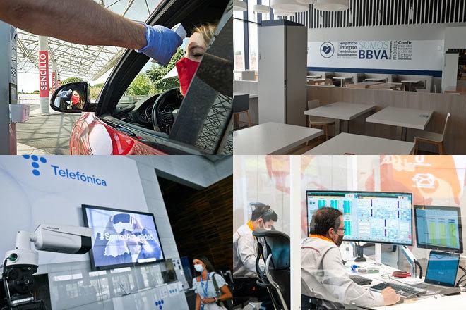 Así será el regreso a la oficina de Santander, BBVA, Telefónica, Repsol y otras grandes empresas españolas