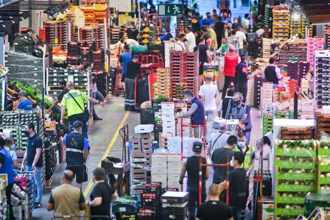 Una de las seis naves del Mercado Central de Frutas y Hortalizas, que abre sus puertas a las 6:00 de la madrugada, en plena actividad.