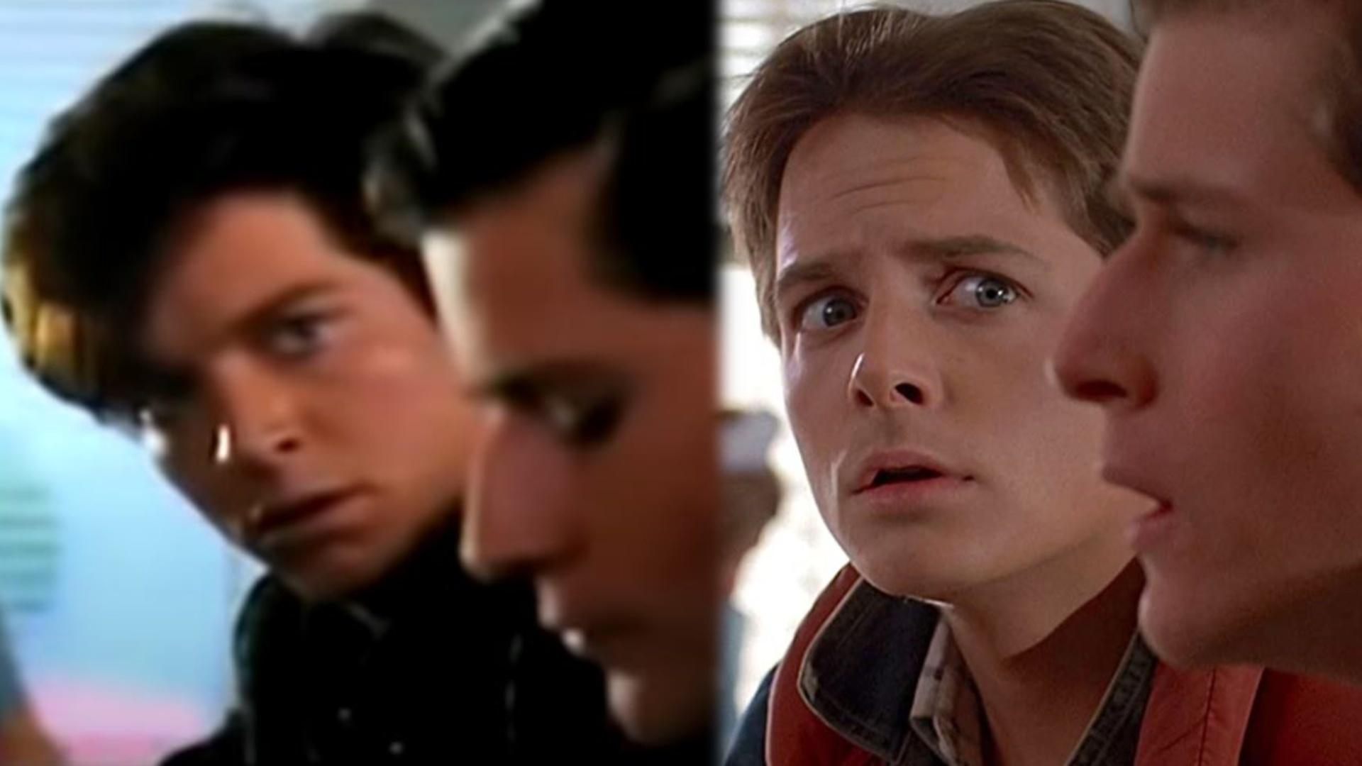 Montaje de dos planos de 'Regreso al futuro'. A la izquierda, el actor Eric Stoltz ('Máscara' (1985), primer intérprete que estuvo tras el papel de Marty McFly. A la derecha, el que finalmente sería protagonistas Michael J. Fox.