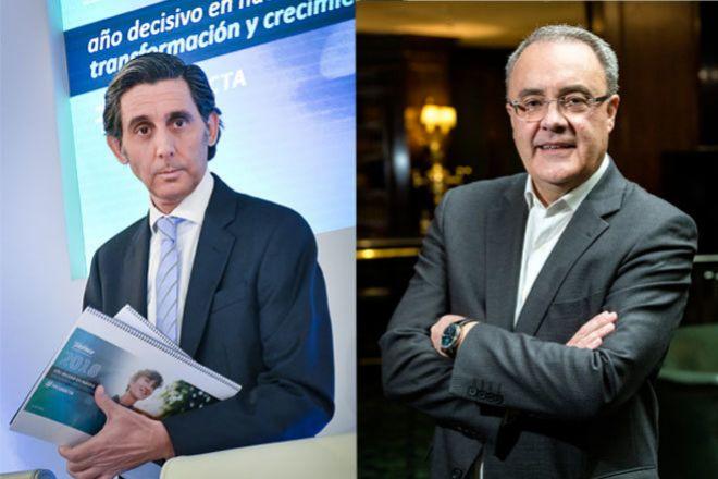 José María Álvarez-Pallete, presidente de Telefónica (izquierda) y Tobías Martínez, consejero delegado de Cellnex.
