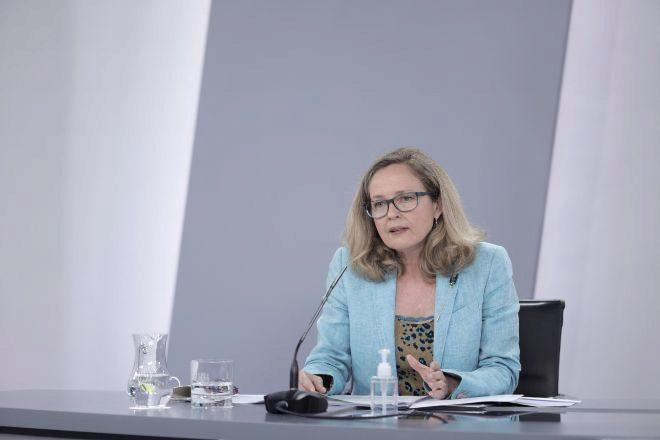 La vicepresidenta primera del Gobierno y ministra de Asuntos Económicos y Transformación Digital, Nadia Calviño, ayer.