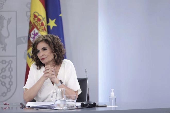 La ministra de Hacienda y Función Pública, María Jesús Montero, en la rueda de prensa del Consejo de Ministros.