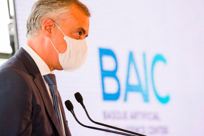 El lehendakari Iñigo Urkullu; durante su intervención este miércoles en Vitoria en el acto de constitución del Basque Artificial Intelligence Center (BAIC).