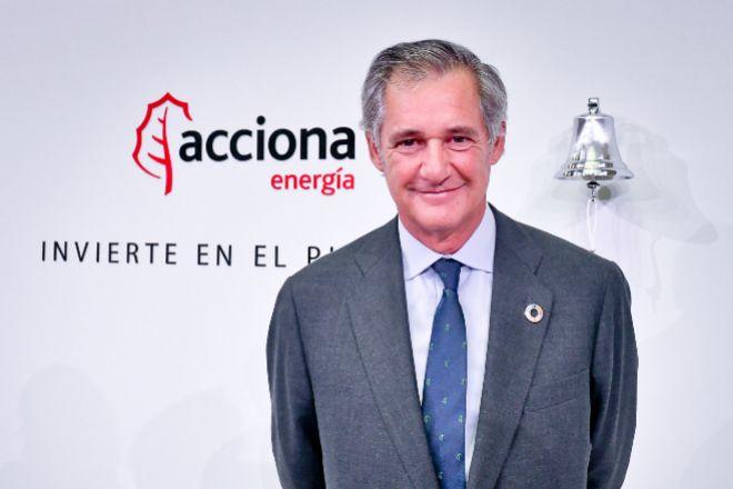 José Manuel Entrecanales, presidente de Acciona, en el estreno bursátil de la filial de renovables.