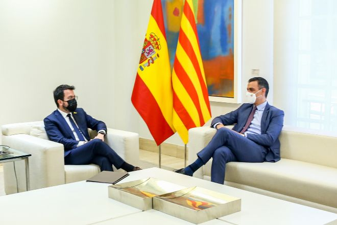 Pedro Sánchez y Pere Aragonès, en la reunión que mantuvieron en junio, justo después de los indultos a los líderes del 'procés'.