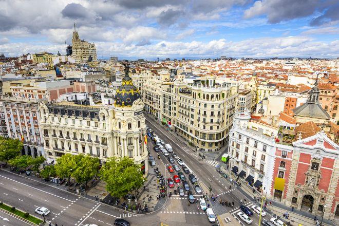 Vista aéra de la Gran Vía de Madrid.